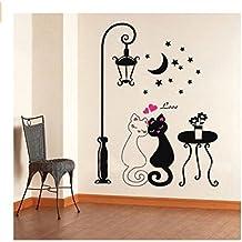Romote Gato Negro bajo la lámpara de Calle Diseño Imagen Arte Peel palillo de la Pared