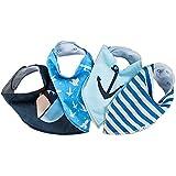 BABILOO Baby-Lätzchen - doppellagig & super saugfähig - Halstuch Sabberlätzchen mit stylischen Maritim Muster für Jungs - 4-teiliges Baby-Dreieckstuch Set