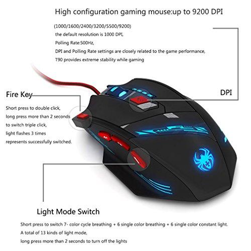 Zelotes T90 Ratón Gaming Ajustable 1000-9200 DPI, 8 Botones, Ajuste de Peso - Negro