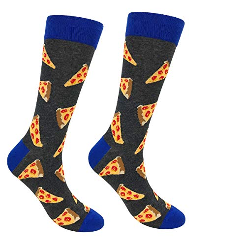 Mens Dress Socks - Socks Cotton Men, Stylish Novel Rich Socks Men Colour Socks, Comfortable Fancy Printed Socks Crew Socks Pack For Men Teenager (Black Pizza-1 Pair)(Size: One Size)