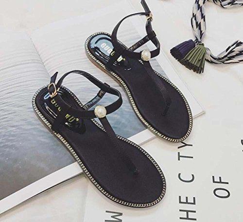 Pompa Clip Toe sandalo D'Orsay Piatto sandali Spiaggia Scarpe Donne Semplice laccio Ciabatte infradito perlina Fibbia della cintura Scarpe casual Formato Eu 35-39 Black