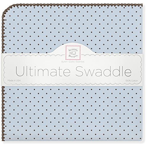 SwaddleDesigns Ultimate Receiving Blanket, Polka Dots, Pastel Blue with Brown (japan import)