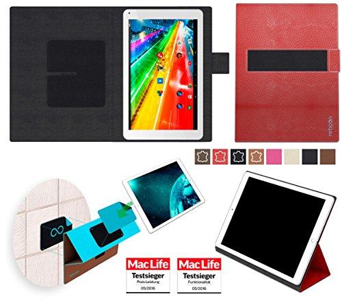 reboon Archos 101c Platinum Hülle Tasche Cover Case Bumper | Rot Leder | Testsieger