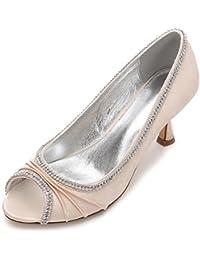 L@YC Zapatos de Boda de Las Mujeres Peep Toe Satin Heel Costura de Diamantes de Encaje