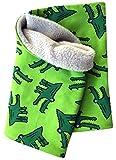 Wollhuhn Warmes Halstuch, Schlupfschal Sterne mit Krokodilen in grün für Jungen und Mädchen, Innenseite Fleece, 20141227