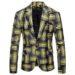 ┃BYEEEt┃ Blazer Uomo Slim Fit Aderente Casual Tailored Fit Blazer – Striscia Plaid Blazer da Uomo