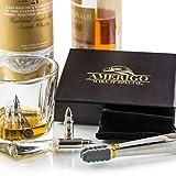 Amerigo Premium Edelstahl Whisky Steine Geschenkset – Hohe Kühltechnologie - Wiederverwendbare Whiskey Eiswürfel – 6 Whisky Kugel – Whiskey Bullet Geschenkset - Whisky Patrone + Edelstahlzange