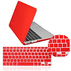 "IDACA Quicksand Red Matte Hard Shell Case Cover for Macbook Air 13"" 13.3"" A1369 & A1466 and 2014 New Macbook Air 13"" with Silicone Keyboard Cover (USA KEYBOARD VERSION)"