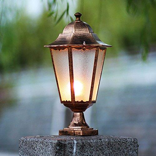 HJZY Europäischen Outdoor-Die-Cast-Aluminium Landschaft Lichter Villa Garten Spalte Scheinwerfer Wand Kopf Lampe Säule Terrasse Beleuchtung wasserdichte Single Head Post Lights (Color : Bronze) -