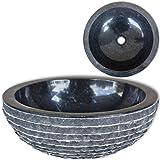 vidaXL Lavabo en marbre 40 cm Noir Vasque à poser Lave Main pour salle de bain