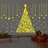 Wallflexi 'Merry Christmas con citazione Glow in Dark fiocchi di neve albero di Natale Decorazioni da parete adesivi murale cameretta ufficio casa decorazione