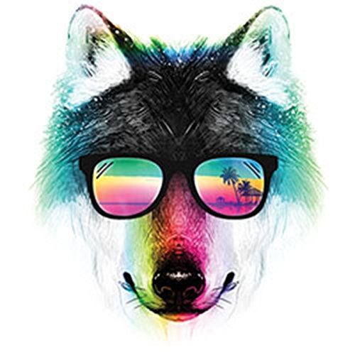 Pop Art Style Tank Top Neon Summer Wolf Shirt 4 Heroes Beach Tanktop Herren Geburtstag Geschenk geil bedruckt Weiß