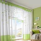 Souarts Grün Stickerei Transparent Gardine Vorhang Schlaufenschal Deko für Wohnzimmer Schlafzimmer Studierzimmer 140cmx245cm 1St