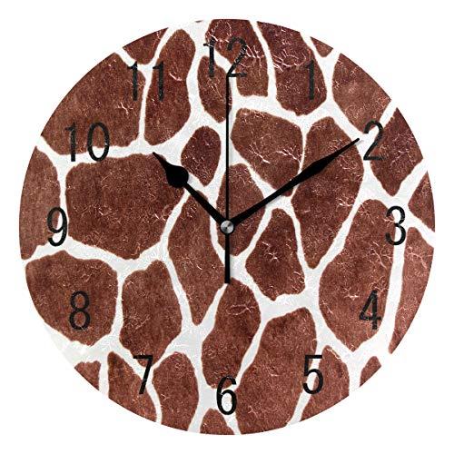Domoko Home Decor Giraffe Spot Animal Print Acryl, Rund Wanduhr Geräuschlos Silent Uhr Kunst für Wohnzimmer Küche Schlafzimmer