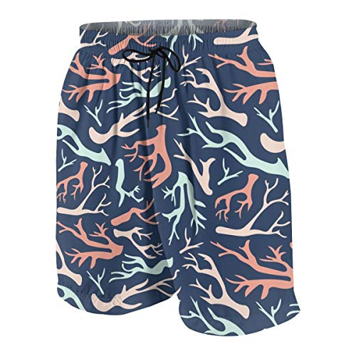 hulili Swim Trunks Coral On Navy Beach Beach Shorts Printed Funny Quick Dry for Kids Boys -