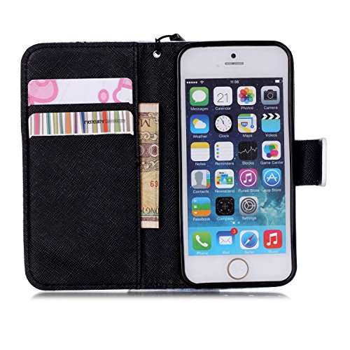 MOONCASE Étui pour iPhone 5 / 5S Printing Series Coque en Cuir Portefeuille Housse de Protection à rabat Case YB10 A06 #1117