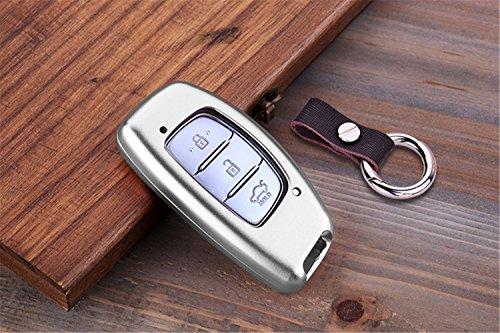 [M. JVisun] telecomando auto keyless entry chiave cover Fob Pelle motore per Hyundai Verna stile Elantra Mistra Sonata 9Tucson ix25ix35, guscio in alluminio in vera pelle con portachiavi