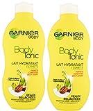 Garnier– Juego de 2 leches corporales hidratantes y tonificadoras para pieles flácidas.