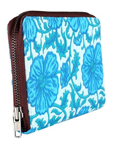Bella cotone Pochette stampato floreale da Rajrang Turquoise & White