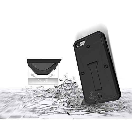 iPhone Case Cover 3 In 1 Nouveau Armor Tough Style hybride à double couche d'armure Defender PC Hard cas avec support cas d'antichoc pour IPhone 5 5S SE ( Color : Black , Size : IPhone SE 5S ) Black