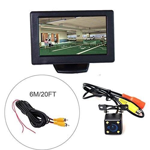 Cocar Auto HD TFT Monitor da 4.3\'\' LCD Telecamera + LED Universale per Visione Notturna + 6m/20FT Cavo(Parcheggio Sistema di Assistenza Kit)