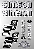 Aufkleber-Set Simson S51N weiß Seitendeckel Tank BJ-Handel
