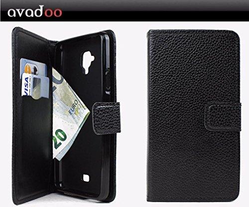 avadoo® Archos 50 Titanium 4G Flip Case Cover Tasche Schwarz mit Magnetverschluss und Dualnaht als Cover Tasche Hülle