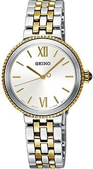 ساعة كوارتز نسائية من سيكو ، شاشة انالوج بعقارب وحزام من الفولاذ المقاوم للصدأ SRZ508P1