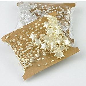 CYY 5M Fünfzackige Sternschnur für Chrismas, Party, Hochzeit, Neujahr, Gartendekoration (Beige Weiß)