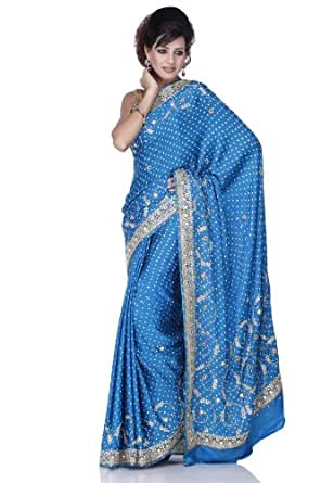 Chhabra555 Blue Satin Bandhej Saree