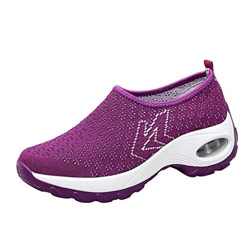 Frauen Sportschuhe Sneaker Leichte,Laufschuhe Damen Laufschuhe Qualität Wildleder-Joggingschuhe Casual Mesh Turnschuhe Soft-Walk Outdoor Athletisch URIBAKY