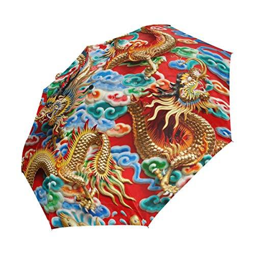 XiangHeFu Regenschirm, Vintage, asiatischer chinesischer Drache, automatisch, 3-Fach faltbar, leicht, UV-Schutz -