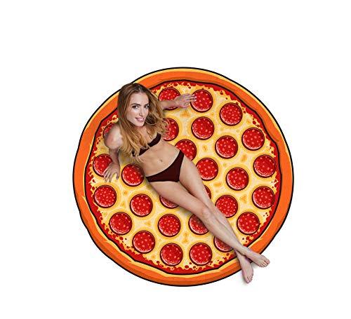 Bigmouth inc pizza telo mare, poliestere, multicolore, 152x152x1 cm