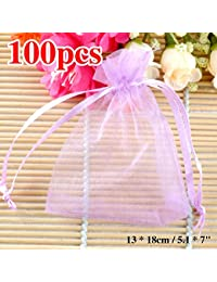 "Generic Light Purple, 70x90mm : 100pcs/lot Organza Gift Bags 13 X 18cm / 5.1 X 7"" Light Purple Sheer Organza Pouch..."