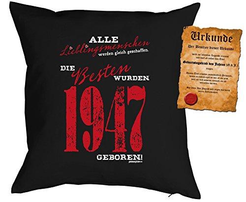 zum 70. Geburtstag Geschenkidee Kissen mit Füllung Lieblingsmensch 1947 geboren Polster zum 70 Geburtstag für 70-jährige Dekokissen mit Urkunde