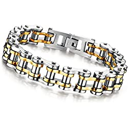 Yutii Biker Chain Style Bracelet For Men And Boys with Gold and Silver Metal plated Stainless steel Man Chain