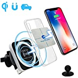 Qi Cargador Coche Inalámbrico Magnetico , DOCA Wireless Charger Car iPhone X , iPhone 8 / 8 Plus ,Galaxy Note 8 , S8 ,S8 Plus ,S7 , S6 Edge , Note 5 , para Otros Qi Enabled Phones - Negro