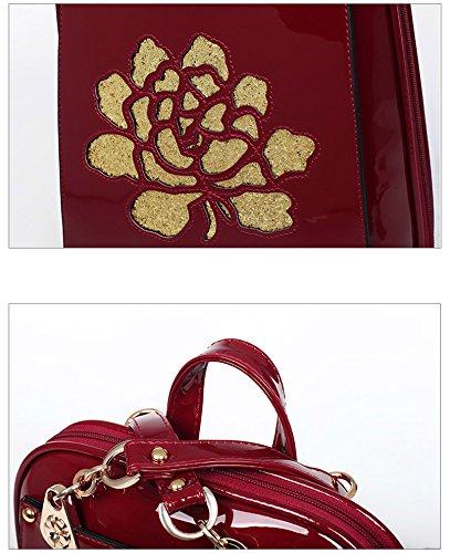 Yan Show Damen Lackleder Schultertaschen Blumenmuster Rucksack Stereotypen Multifunktions Tasche Weinrot