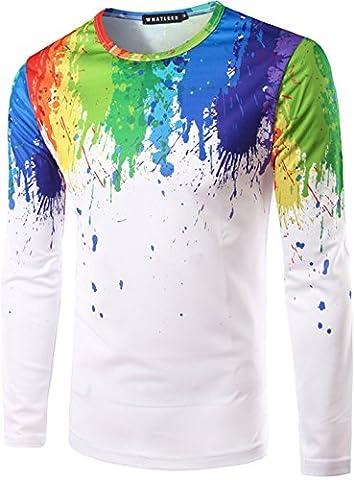 Whatlees Mens Hip Hop Slim Fit long sleeve Sweatshirts with Colorful 3D Paint Splatter Print
