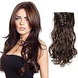 S-noilite® 60cm 8 teiliges SET Clip In Hair Extensions Haarverlängerung Full Head Haarteil Haarverdichtung (Dunkelbraun)