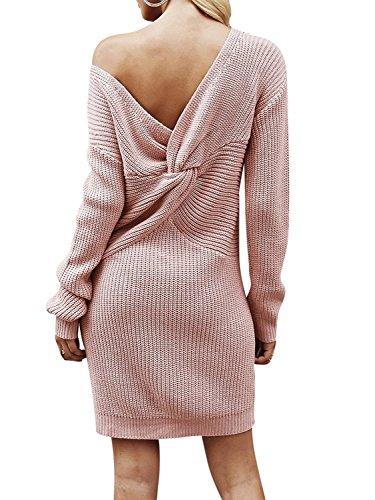 Melegant Damen Herbst Kleid Elegant Knielang Langarm One Shoulder Pullover Strickkleid Jersey-Kleid Winter