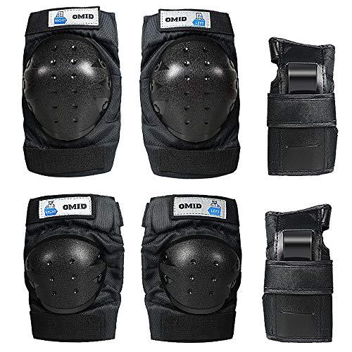 OMID Rollers Kit de Protection 6PCS Enfants Genouillère Protège-Poignet 3-en-1 RéglableBracelets Coudièrespour Moto vélo Patinage Cyclisme Planche à roulettes, Adulte/Enfant/Jeune