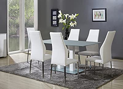 Centurion Supports SAVANNAH Frosted Glass Dining Table with White Leather Curved High-Back Dining Chairs