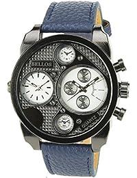 BELLOS -HERRENUHR weiß SCHWARZ Quarz Stahlgehäuse Anzeige Analog 2F Armband Kunstleder BLAU