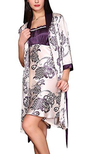 Dolamen Camisón para mujer con Vestido Kimono Satén, 2-in-1 Mujer Camisones raso Pijamas, Bordado de lujo y de la flor atractiva Satén Neglige Lencería Ropa de Dormir (Medium, Púrpura)