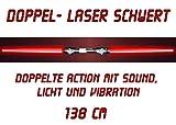 tevenger Doppel-Laserschwert Lichtschwert Sound Licht Vibration 138 cm rot