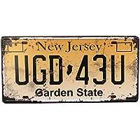 Eureya UGD 43U Placa de matrícula para el coche, diseño vintage de jardín de 15,2 x 30,4 cm