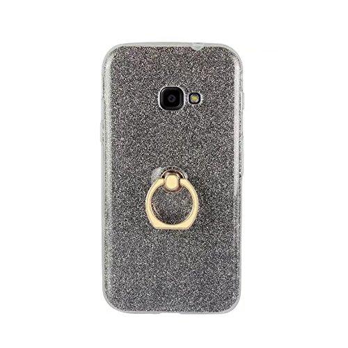 EKINHUI Case Cover Weiche flexible TPU rückseitige Abdeckungs-Fall Shockproof schützende Shell mit Bling Glitter funkelt und Kickstand für Samsung-Galaxie Xcover 4 G390F ( Color : White ) Black