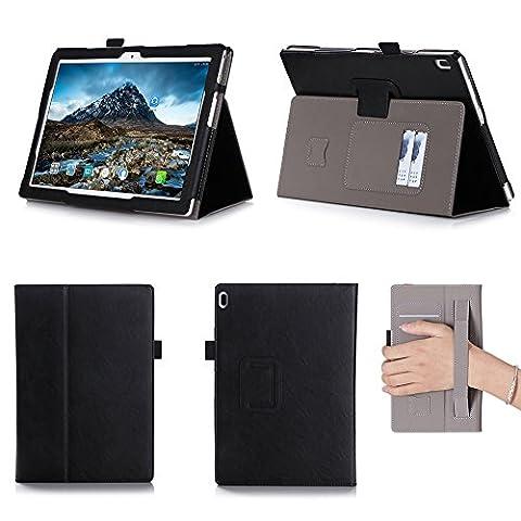 ISIN Tablet Fall Serie Lenovo Tab 4 10 TB-X304F und TB-X304N 10,1 Zoll Tablet Premium PU-Leder Schutzhülle Taschen mit Handschlaufe,Stylus Halter und Kartenschlitz (Schwarz)