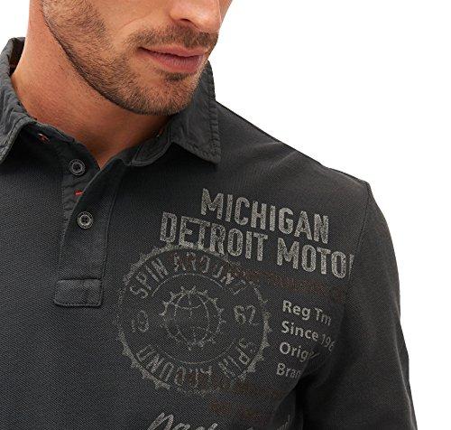 TOM TAILOR für Männer Polo Langärmliges Polo-Shirt mit Print Black
